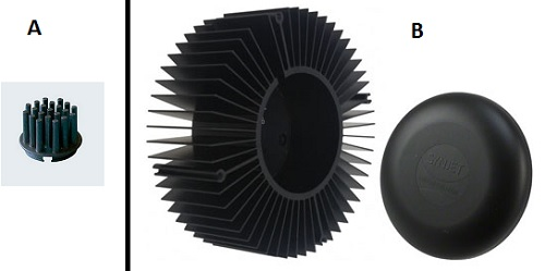 Dissipatore passivo per LED singolo (A) e dissipatore attivo a ventilazione forzata per multichip (B)