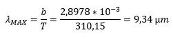 Lambda max = b/T = 2,8978-10^(-3) / 310,15 = 9,34 um