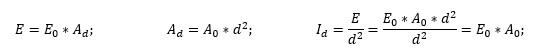 E=E0*Ad; Ad=A0*d^2; Id=E/d^2=(E0*A0*d^2)/d^2=E0*A0